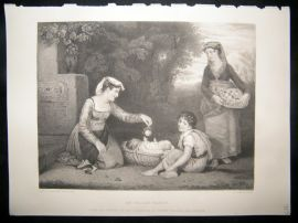 Children 1867 Steel Engraving. An Italian Family